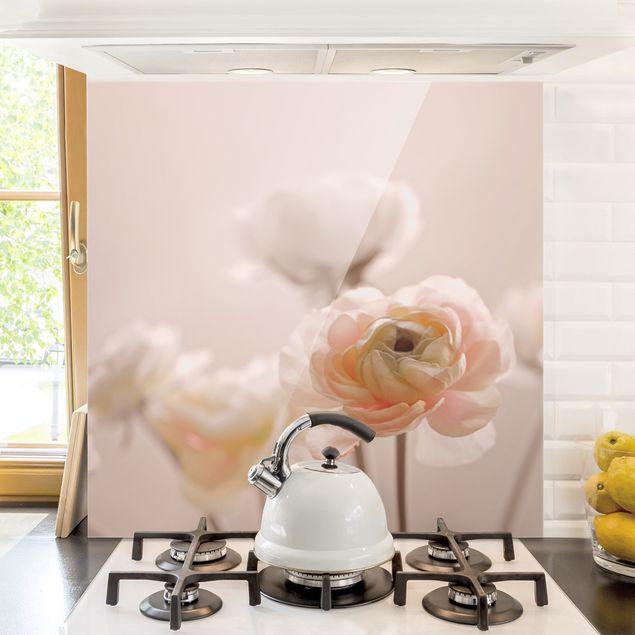 Spritzschutz Glas - Zarter Strauch an Rosa Blüten - Quadrat 1:1