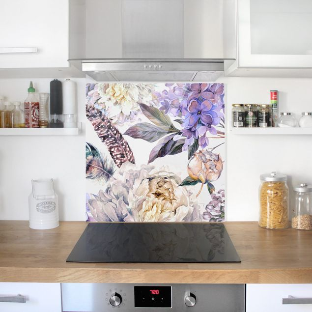 Spritzschutz Glas - Zartes Aquarell Boho Blüten und Federn Muster - Quadrat 1:1