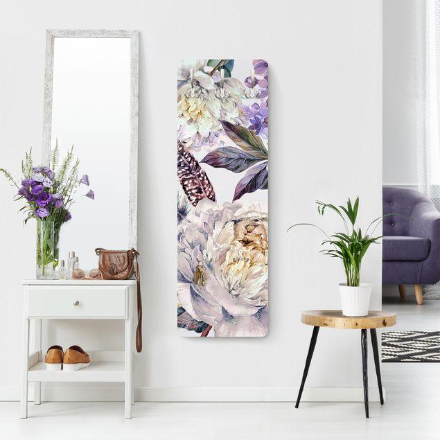 Garderobe - Zartes Aquarell Boho Blüten und Federn Muster