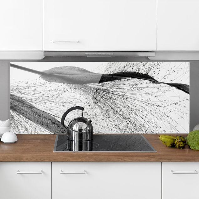 Spritzschutz Glas - Zartes Schilf mit feinen Knospen Schwarz Weiß - Panorama 5:2
