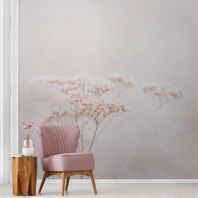Metallic Tapete - Zartrosane Wildblumen