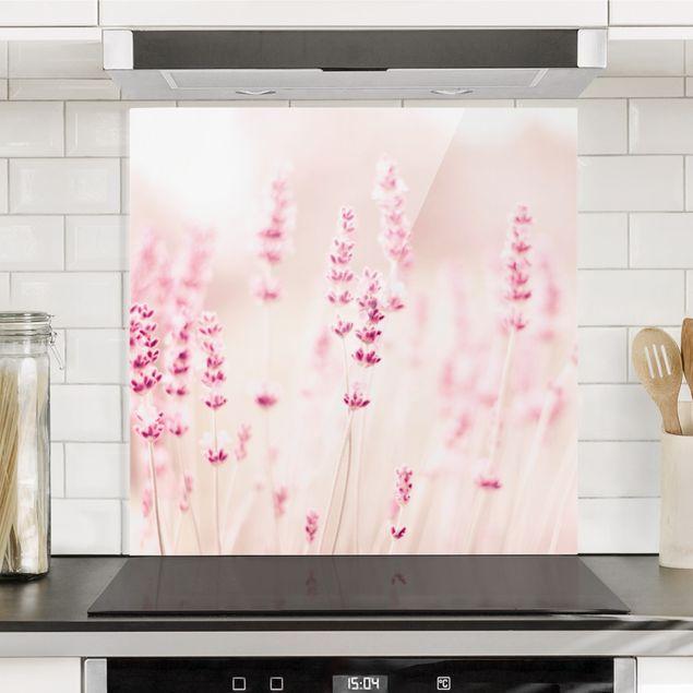 Spritzschutz Glas - Zartrosaner Lavendel - Quadrat 1:1